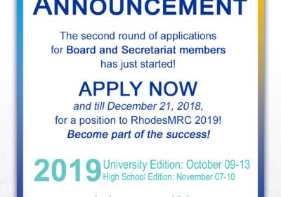 Call for Board Members and Executives for RhodesMRC 2019